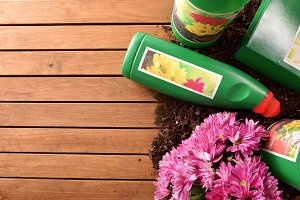Gardening products on wood table top