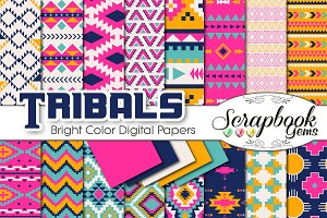 Aztec Digital Papers - Bright Colors