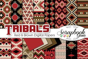 Aztec Digital Papers - Red & Brown