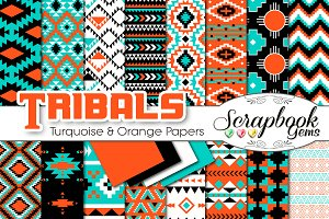Aztec Digital Papers - Turquoise