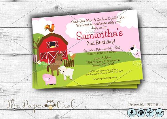 Farm Birthday Party Invitation Pink