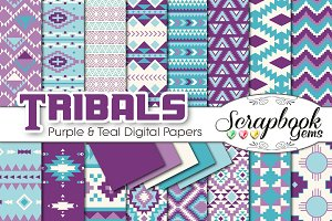 Aztec Digital Papers - Purple & Teal