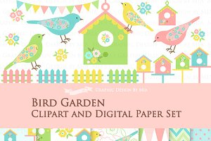 Bird Garden Clipart+Pattern set