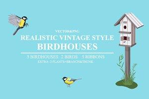 Realistic Vintage Style Birdhouses
