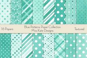 Blue Patterns Digital Paper Pack