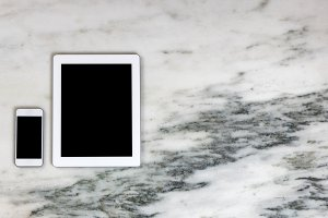 Wireless mobile devices on marble