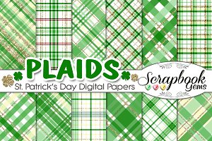 St. Patricks Glitter Plaid Papers
