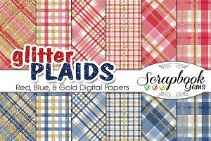 Red Blue & Gold Glitter Plaid Papers