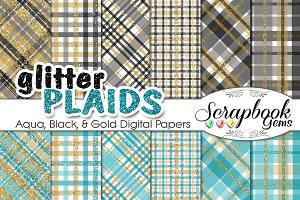 Aqua Black & Gold Plaid Papers