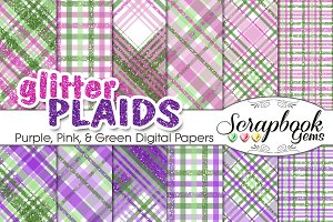 Purple Pink & Green Glitter Plaids