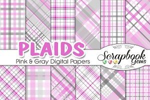 Pink & Gray Plaid Digital Papers