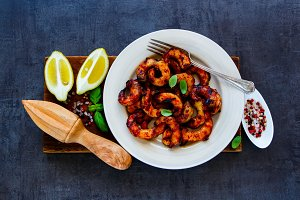 Grilled prawns in plate