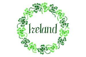 Ireland lettering clover frame art
