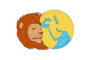 Lion Head Middle East Asia Map