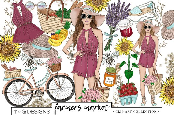 Fashion Girl Summer Market Clip Art