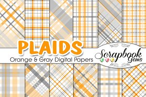 Orange & Gray Plaid Digital Papers