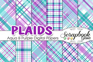 Purple & Teal Plaid Digital Papers