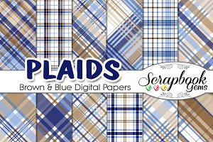 Navy & Brown Plaid Digital Papers