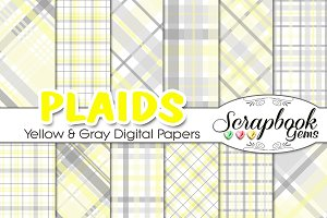 Yellow & Gray Plaid Digital Papers
