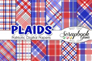 Red & Blue Patriotic Plaid Papers