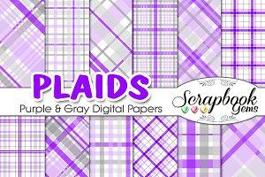 Purple & Gray Plaid Digital Papers