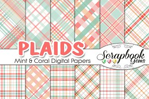 Mint & Coral Plaid Digital Papers