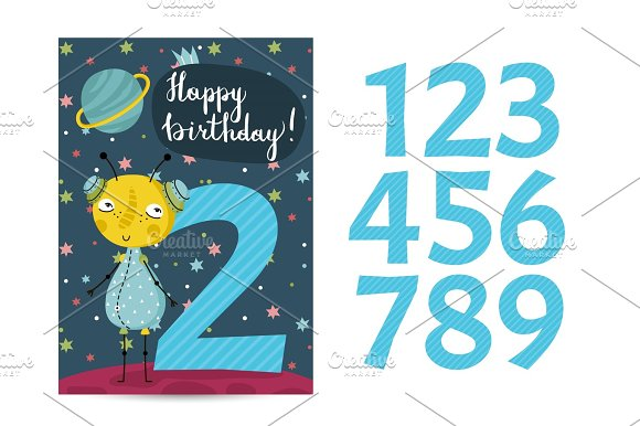 Happy Birthday Vector Cartoon Greeting Card in Illustrations