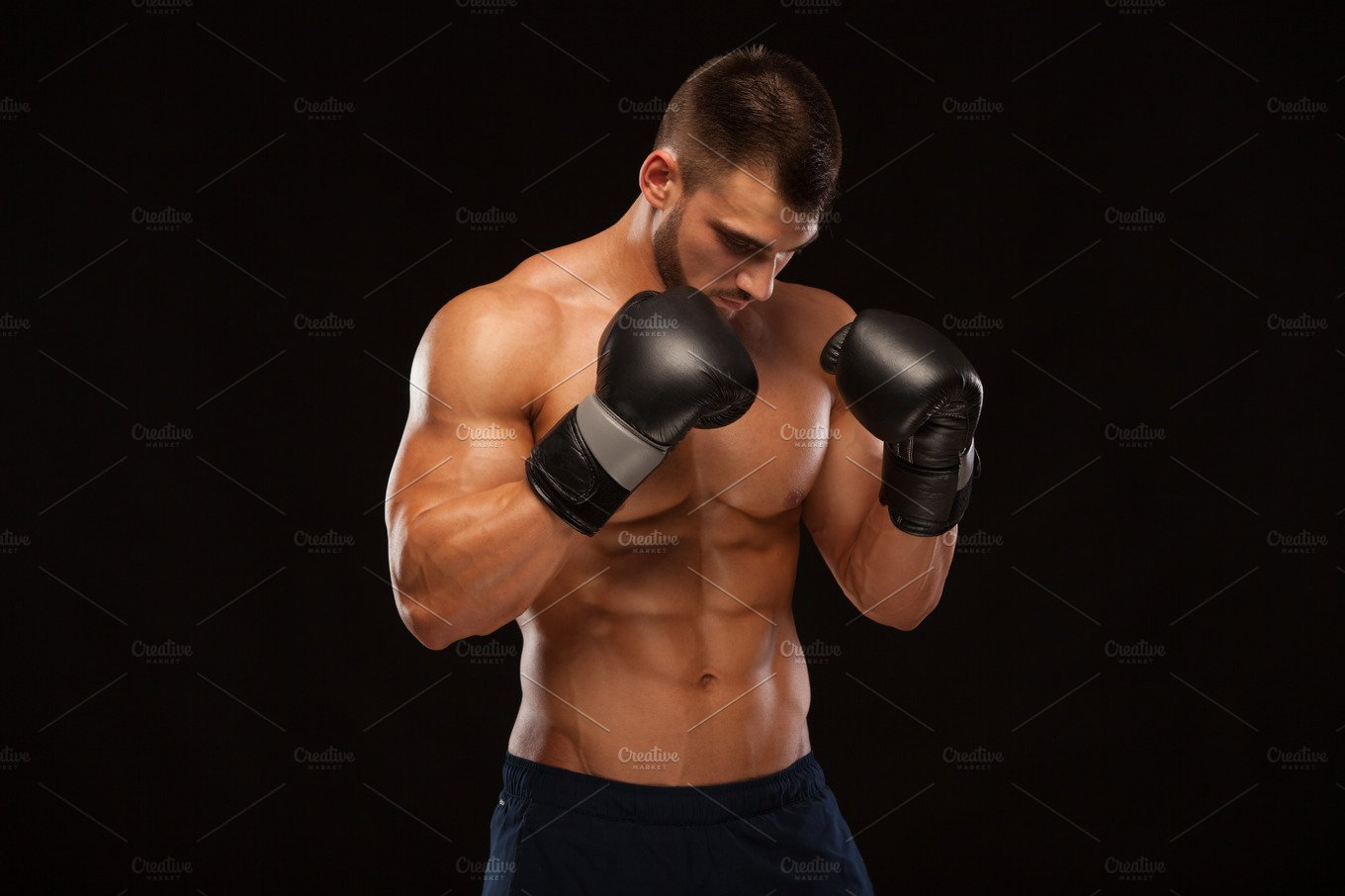 Muscular Young Man With Perfect Torso With Six Pack Abs