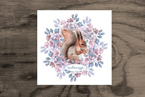 Squirrel and flowers 2