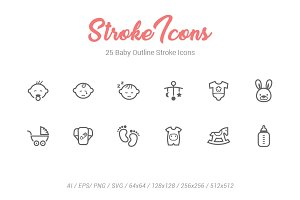 25 Baby Outline Stroke Icons