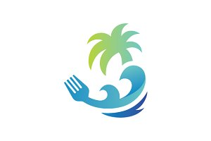 Beach Land Food Logo