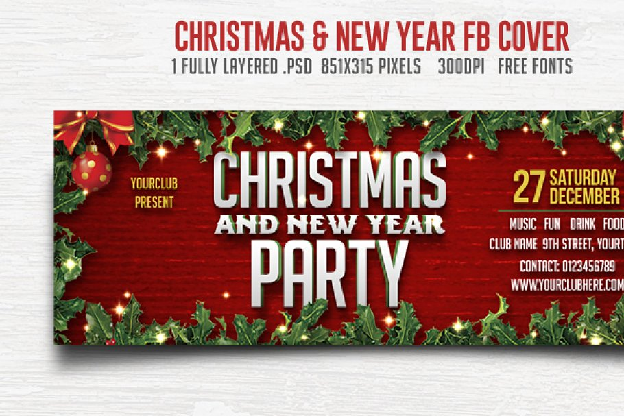 Save. Christmas & New Year Party FB Cover