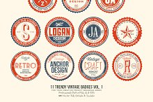 11 Trendy Vintage Badges Volume 1