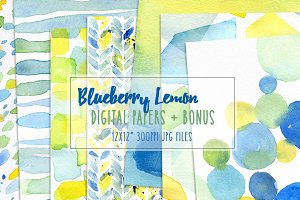 Blueberry Lemon Watercolor Papers