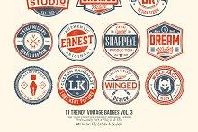 11 Trendy Vintage Badges Volume 3