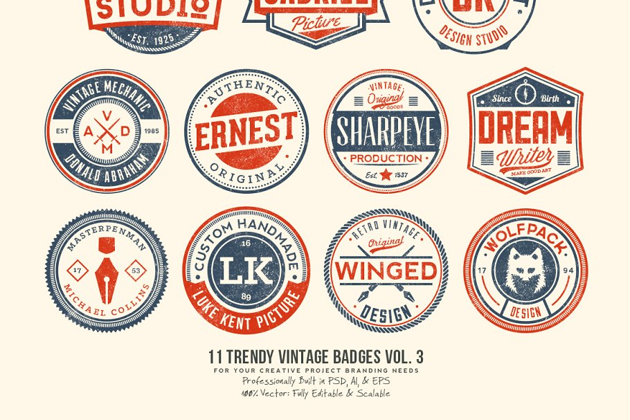 11 Trendy Vintage Badges Volume 3 in Logo Templates - product preview 8