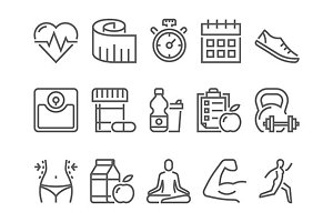 fitness health and sport line icons