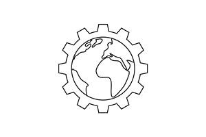 Planet inside the gear line icon