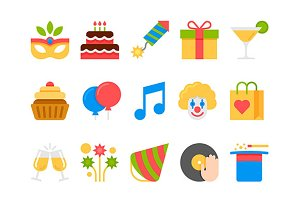 party, holiday, birthday icons