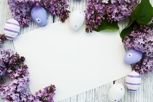 Easter card with easter eggs