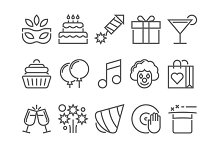 Party and birthday line icon