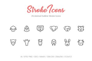 25 Animal Outline Stroke Icons