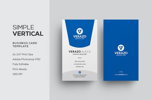 Simple Vertical Business Card ~ Business Card Templates ~ Creative ...