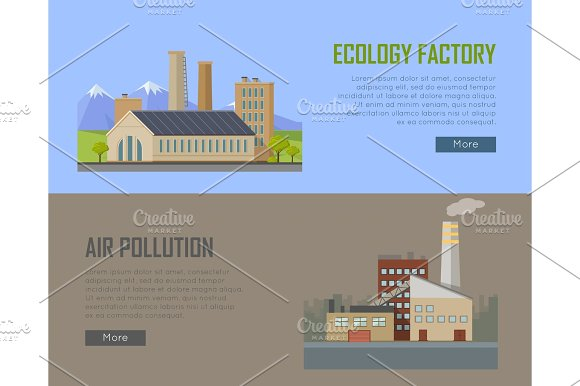 Ecology Factory And Air Pollution Plant Banners