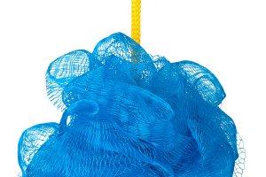 blue sponge shower isolated on white background