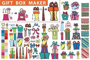 Gift box maker. Flat Doodle set1