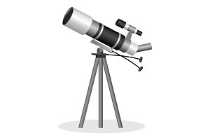 Telescope to observe the stars realistic vector illustration. Optical instrument