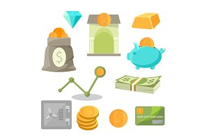 Business asset money investment icons set diamonds, gold, piggy, safe