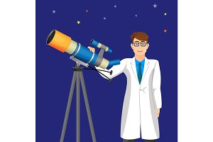 Scientist man with telescope on background of cosmic sky vector