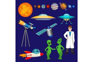 Set of planets, scientist, flying rocket, speaking aliens, telescope vector